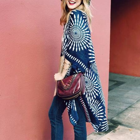 Women Summer Vintage Cardigan Geometry Print Kimono Beach Cover Up Bikini Outwear Dark Blue
