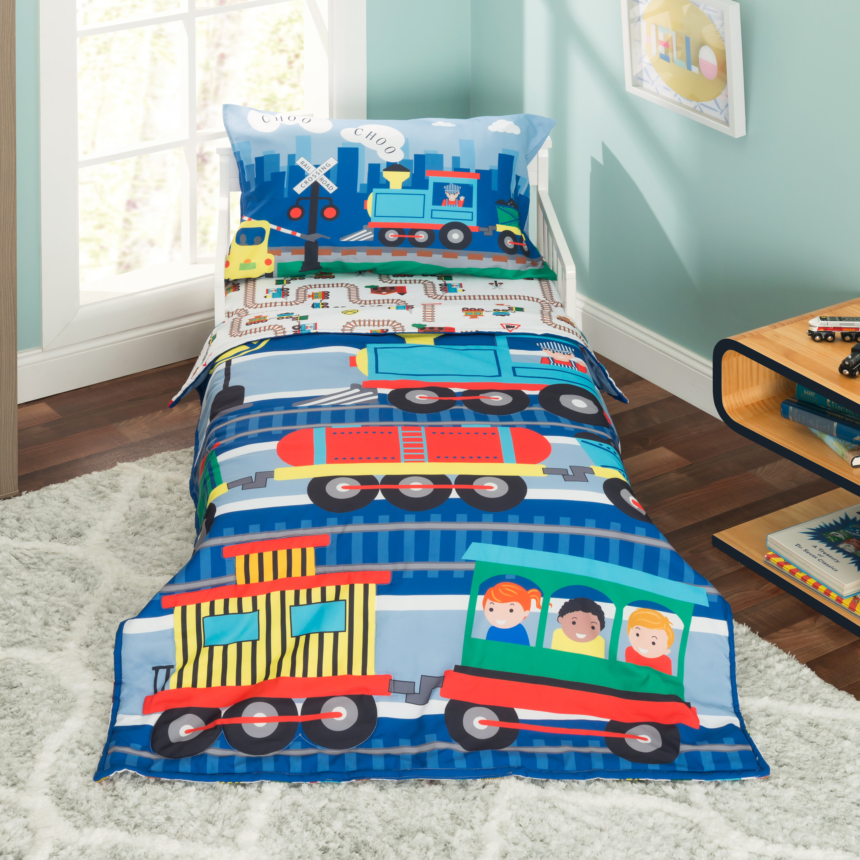 Everyday Kids 4 Piece Toddler Bedding Set - Choo Choo Train