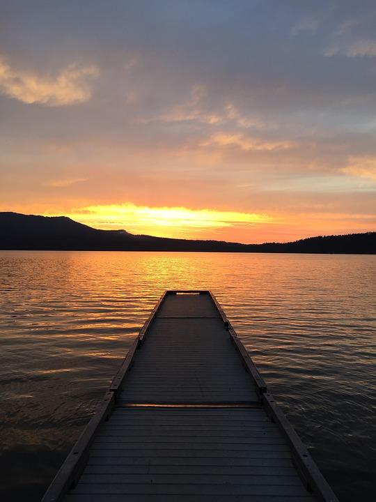 Laminated Poster Sunset Dock Nature Horizon Lake Landscape