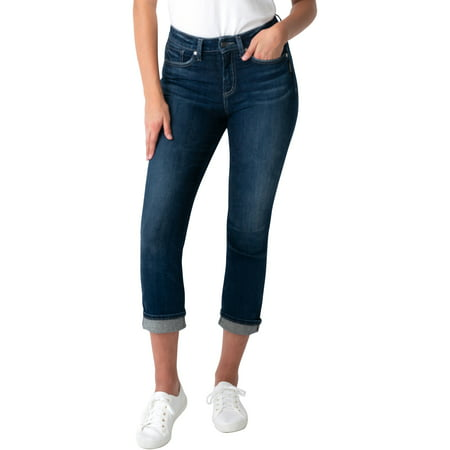 Silver Jeans Co. Women's Avery High Rise Straight Crop Jeans, Waist Sizes 24-36