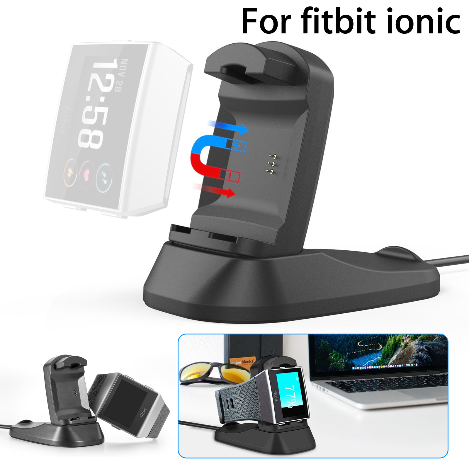 Charger Dock for Fitbit Ionic, USB Charging Stand Accessories Charging Dock Station Cradle Holder with Cable for Fitbit Ionic Smart Watch