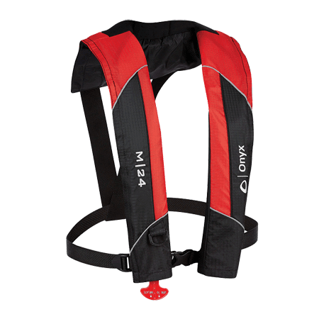 - Onyx #131000-100-004-15 M-24 Manual Inflatable Life Jacket, Red