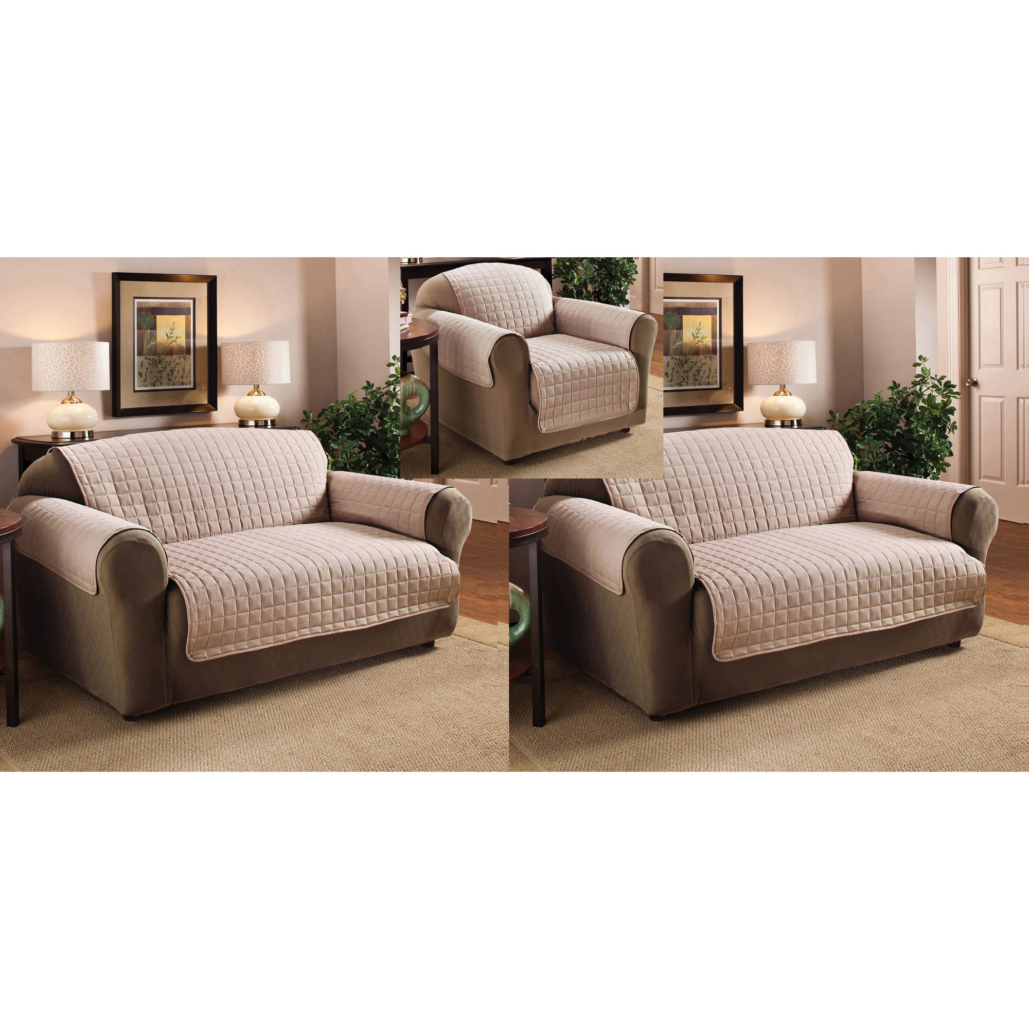 Polyester Microfiber Quilted Chair Loveseat And Sofa Protector Cover 3 Piece Set Ebay