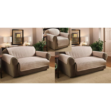Polyester Microfiber Quilted Chair Loveseat And Sofa Protector Cover 3 Piece Set