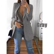 Womens Open Front Solid Color Long Sleeve Long Blazer Cardigan Jackets