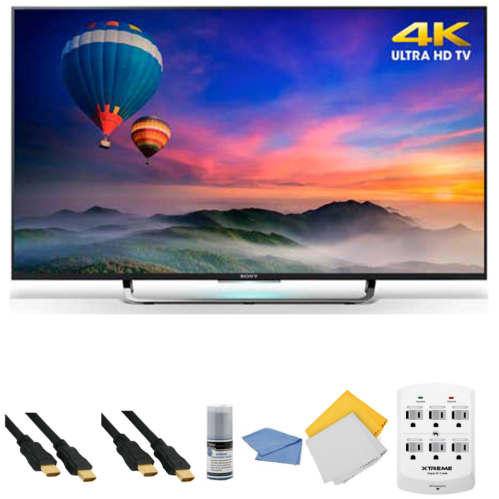 Sony XBR-43X830C - 43-Inch 4K Ultra HD Smart Android LED HDTV + Hookup Kit - Includes TV, HDMI Cable 6', 6 Outlet Wall Tap Surge Protector with Dual 2.1A USB Ports, Cleaning Cloth and Cleaning Kit
