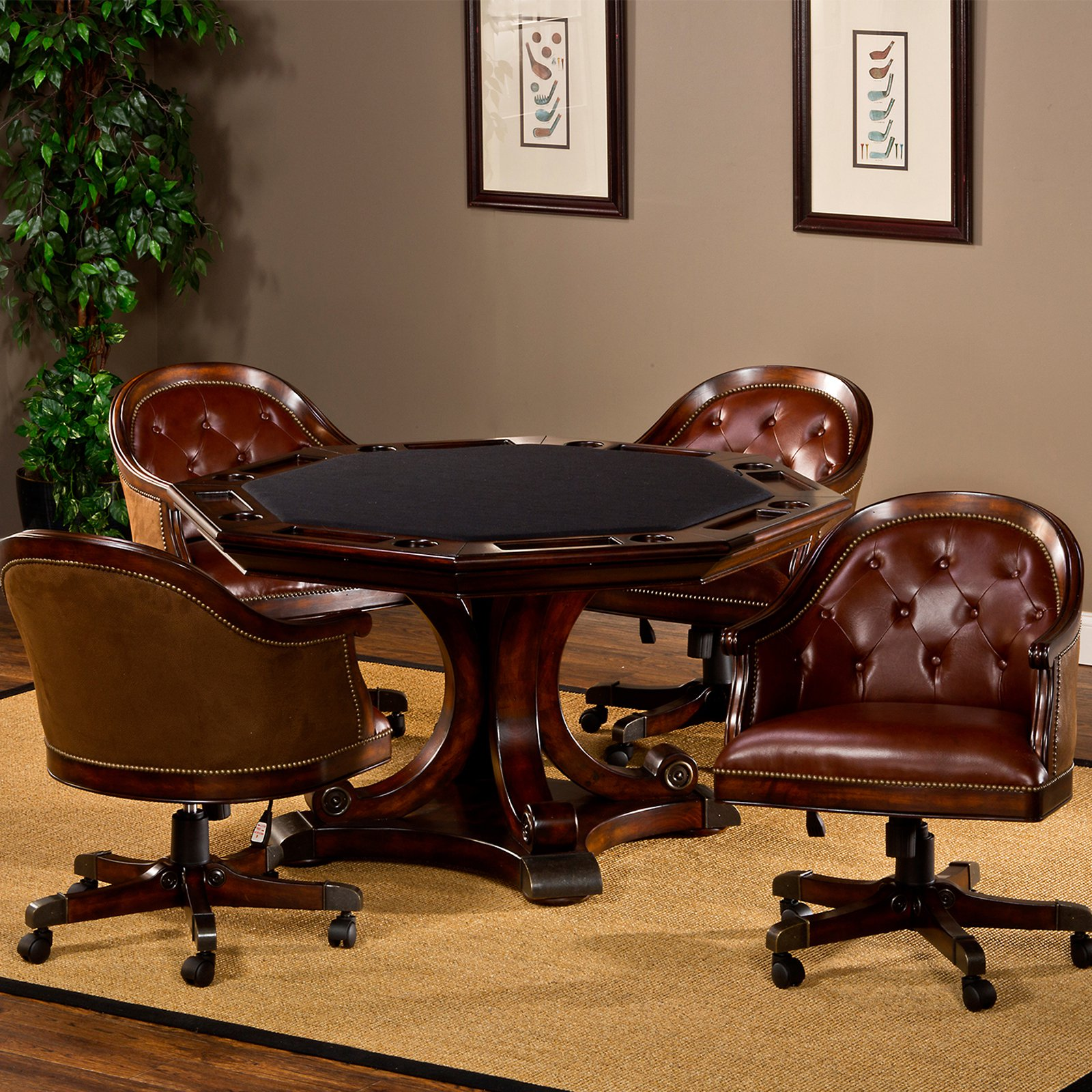Hillsdale Harding 5-Piece Game Table Set Rich Cherry by Hillsdale