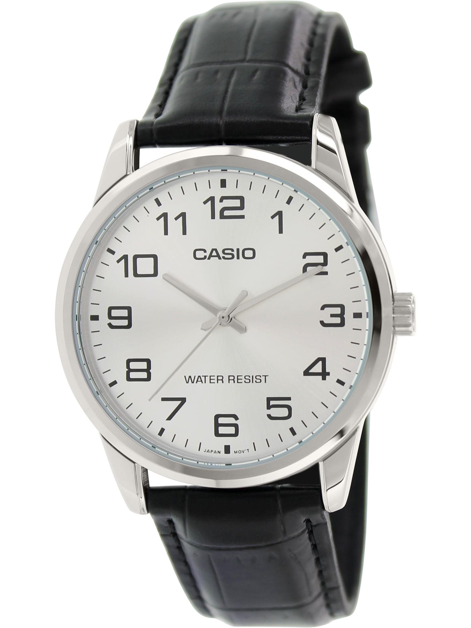 Men's MTPV001L-7B Black Leather Quartz Fashion Watch