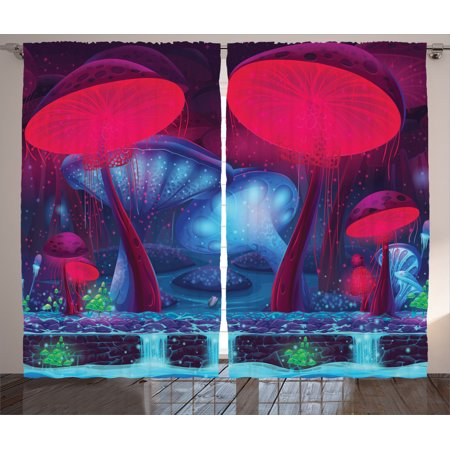 Mushroom Decor Curtains 2 Panels Set, Magic Mushrooms With Vibrant Neon Lights Graphic Image Enchanted Forest Theme Print, Living Room Bedroom Accessories, By