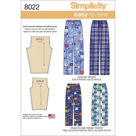Simplicity Childs', Teens' & Adults' Size XS-XL Pants Pattern, 1 Each