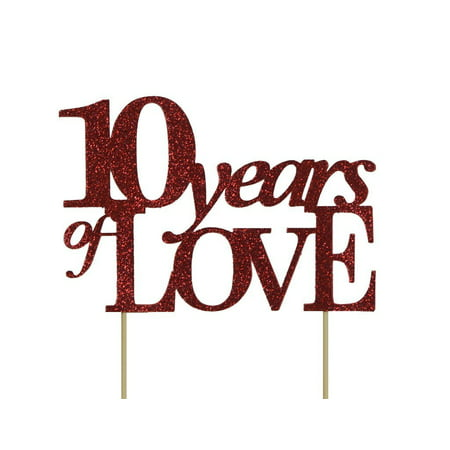 All About Details Red 10-years-of-love Cake Topper (Red Bandana Cake)