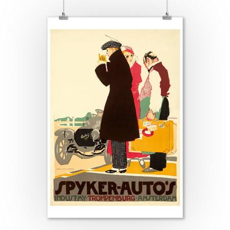 Spyker - Auto's Vintage Poster (artist: Van Der Hem, Pieter) Holland c. 1914 (9x12 Art Print, Wall Decor Travel (1914 Poster Print)
