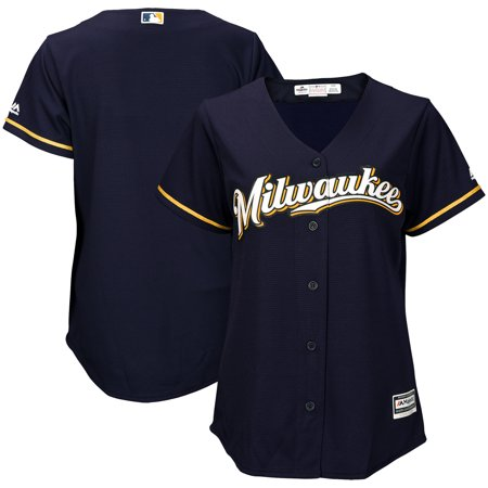 Milwaukee Brewers Jersey - Milwaukee Brewers Majestic Women's Cool Base Jersey - Navy