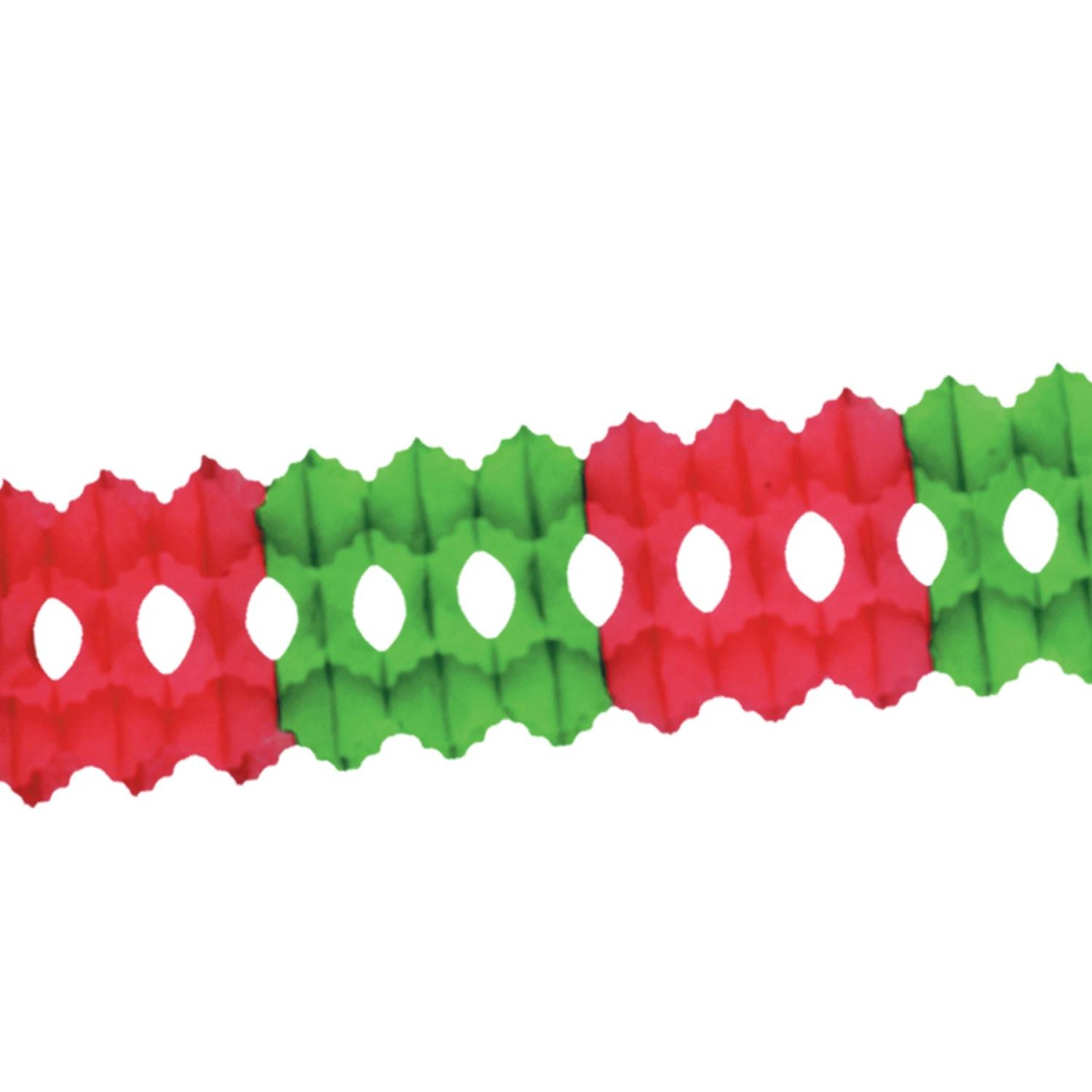 Club Pack of 12 Red and Green Tissue Garland Party Decoration 12'