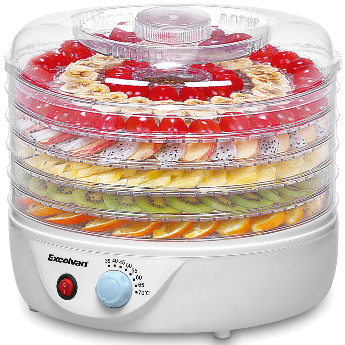 Excelvan Food Dehydrator, Food Dehydrator Machine Jerky Maker Electric fruit roll sheets Food Preserver Vegetable Flower Snack Dryer with Preserver with Adjustable Temperature Control, 5-Trays