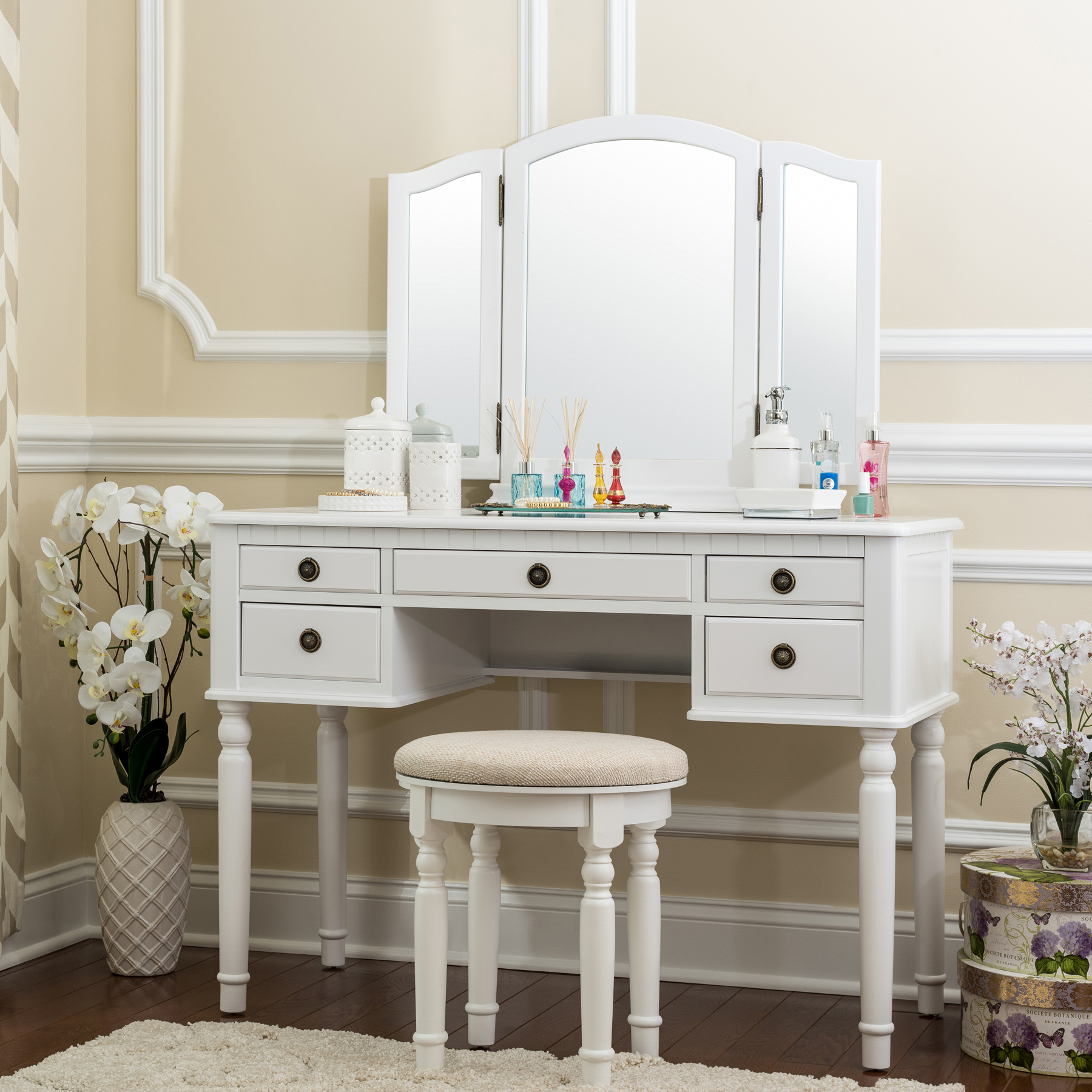 Fineboard Dressing Set With Stool Beauty Station Makeup Table Three Mirror  Vanity Set, 5 Organization