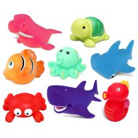 Dollibu Bath Buddies Ocean Critters Rubber Squirter Toys - Sharks, Sea Horse, Turtle, Fish, Octopus, Crab, Walrus - 3 inch - For Baths, Pool, Outdoor - Baby Bathtime Learning (8pc Set)
