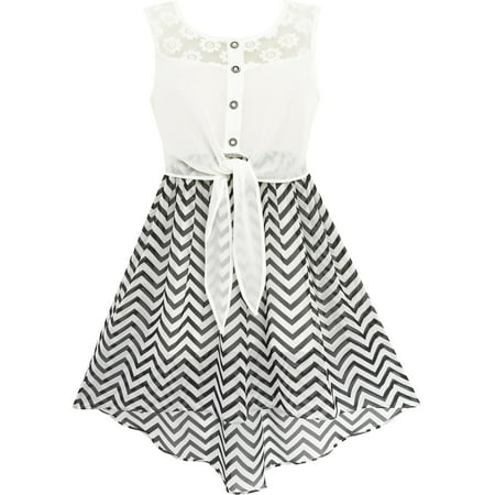 Girls Dress Lace To Chiffon Striped Black White Tied Waist 7](Black Lace Dress Halloween Ideas)
