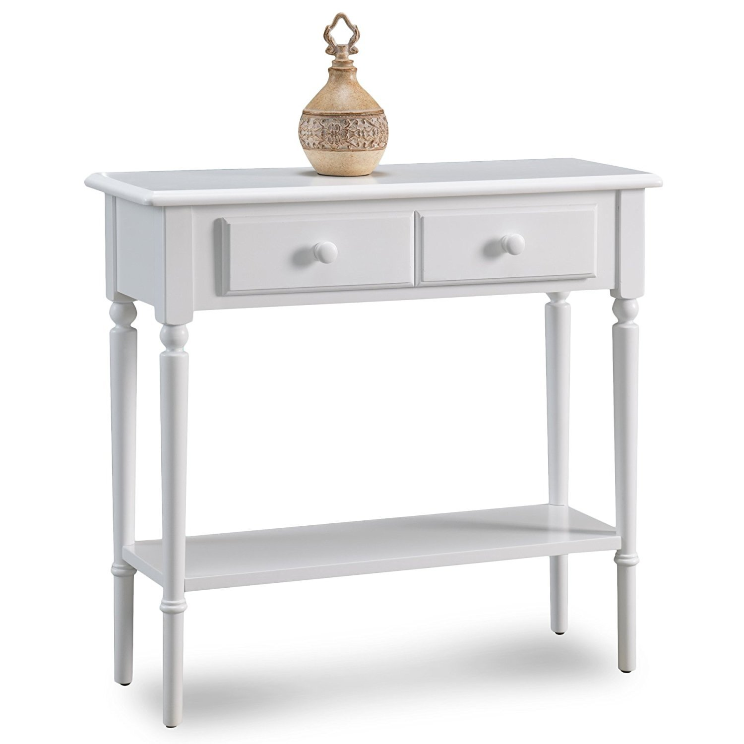 Leick 20027-WT Coastal Narrow Hall Stand Sofa Table with Shelf, Orchid White by Leick Furniture