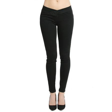 Black Pullman (TheMogan Women's Elastic Waistband Pull-On Comfortable Black Skinny Jeans)