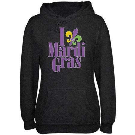 I Love Mardi Gras Fleur De Lis Charcoal Heather Juniors Soft Hoodie Charcoal Fleur De Lis