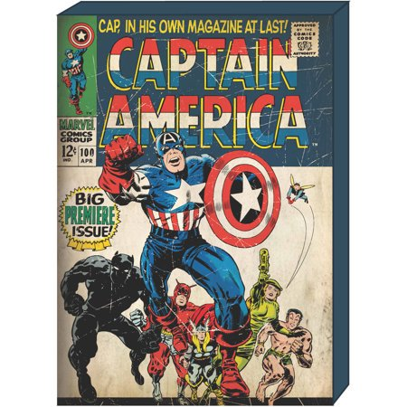 Marvel Comic Covers - Marvel Captain America Retro Comic Book Cover MDF Box Art, Bundle of 2