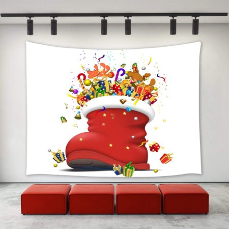 CADecor Christmas Decor Tapestry,Funny Red Christmas Boot Shoes with Christmas Gifts Presents Ornaments Jingling Bell Candy Cane Balls New Year Tapestry 40x60 inch