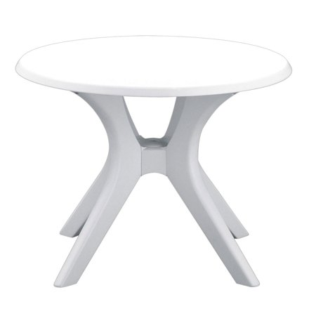 Kettler 46 Inch Kettalux Oudoor Patio Dining Table with Umbrella Hole, White