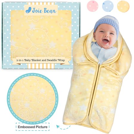 JOIE BEAN Swaddle Blanket Adjustable Baby Wrap | Toddler and Baby Blanket 2 In 1 Sleep Sack Bag | Soft Micro Plush Fleece Infant Sleeping Bag and Wearable Blanket (Sleep Blanket Infant)