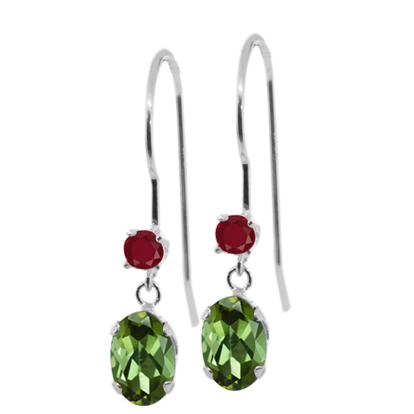 1.04 Ct Oval Green Tourmaline Red Ruby 14K White Gold Earrings