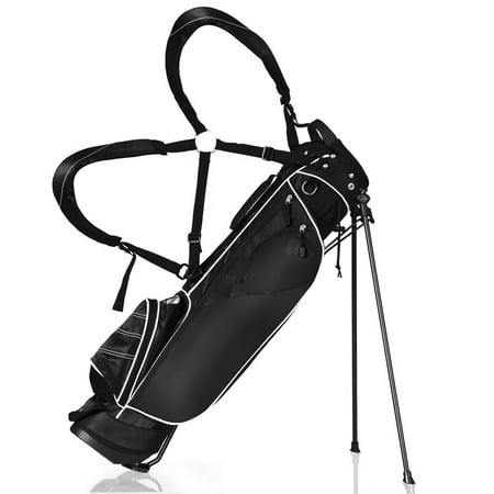 Gymax Black Golf Stand Cart Bag Club with Carry Organizer