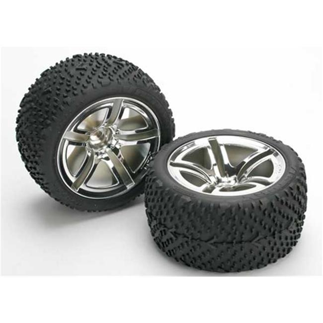 Traxxas TRA5573 Victory Tires-Twin Spoke 2.8 in. Wheels-Foam Inserts Nitro Rear by TRAXXAS