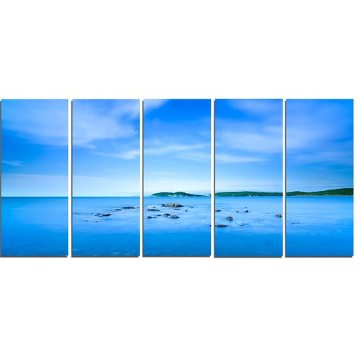 Design Art Baratti Bay Small Rocks in Blue Sea 5 Piece Wall Art on Wrapped Canvas Set