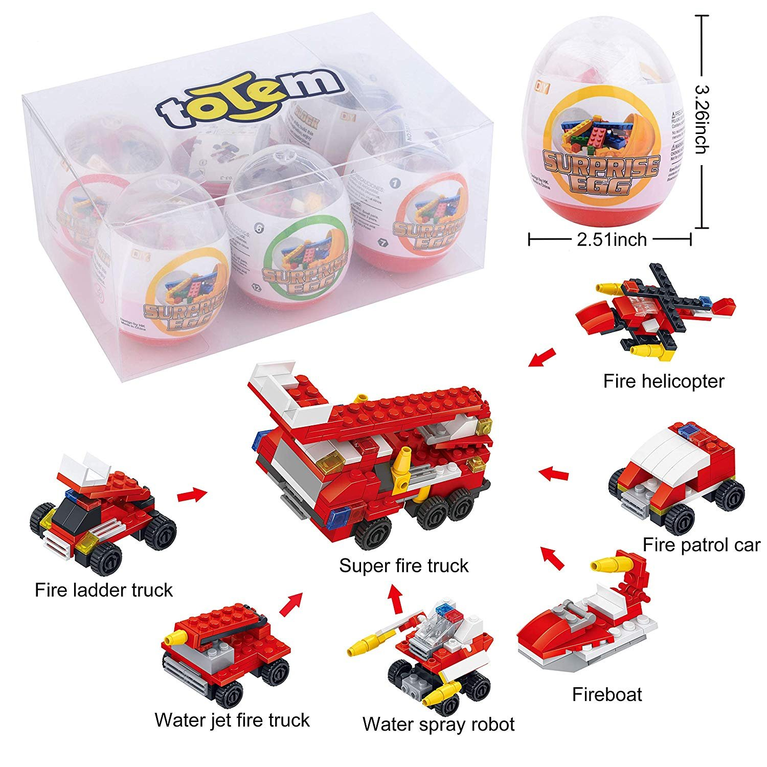 "6 Filled Easter Egg Building Toys - Fireman Vehicle Set - Age 6-12 Learning Educational Inside 3"" Large Plastic Egg - Great for Easter Basket Stuffers - Combine to Build a Fire Truck"
