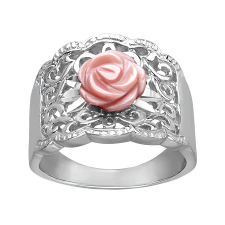 Dot Mother Of Pearl Ring - Pink Mother-of-Pearl Flower Ring in Sterling Silver