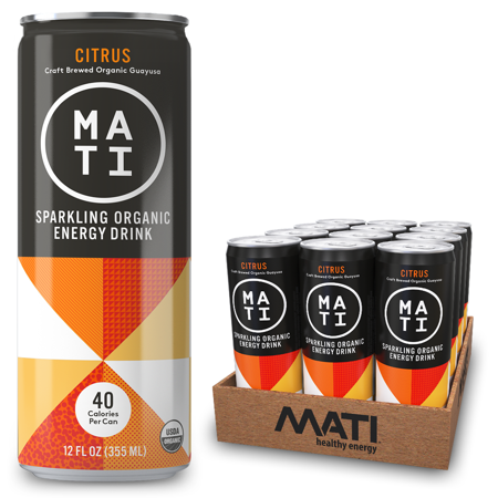MATI Sparkling Organic Energy Drink, All Natural Craft Brewed Guayusa, 40 Calorie, Refreshing Not Sweet, Citrus, 12 Fl Oz Cans (Pack of 12)