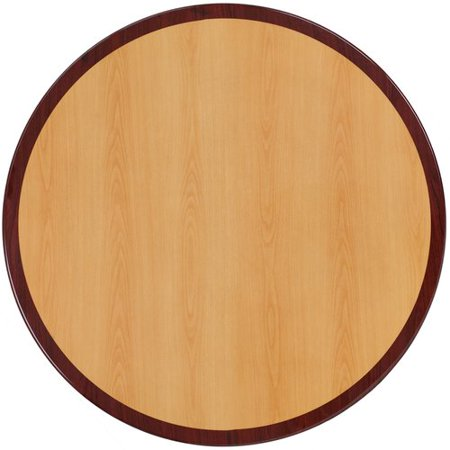 Flash Furniture 36'' Round Two-Tone Resin Cherry and Mahogany Table -