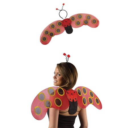 Red Lady Bug Yellow Honey Bee Wings Headband Womens Teens Bug Costume Accessory