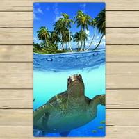GCKG Underwater Sea Turtle Hand Towel,Spa Towel,Beach Bath Towels,Bathroom Body Shower Towel Bath Wrap Size 30x56 inches