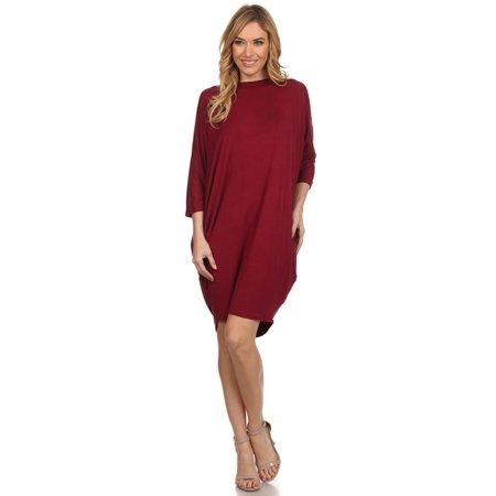 Women's Trendy Style 3/4 Dolman Sleeve Solid Dress Dolman Sleeve Mini Dress
