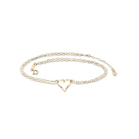 "Rolo-Link Double Strand Heart Charm Ankle Bracelet in Solid 14k Yellow Gold 9"" - 10"""