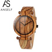 Anself Fashion High Quality Natural Bamboo Wooden Wristwatch 3ATM Water Resistant Simplicity Trendy Unisex Watch for Wedding Anniversary