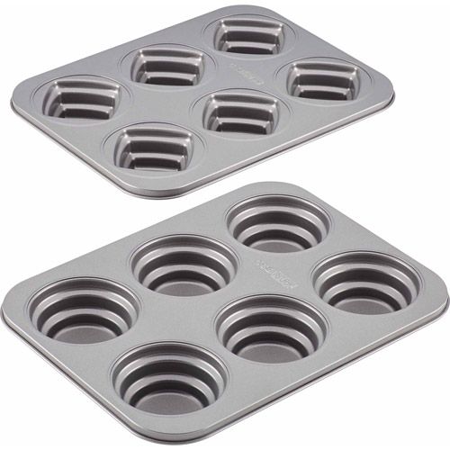 Generic Cake Boss Specialty Bakeware 2 - Piece Round and Square Molded Cookie Pan Set