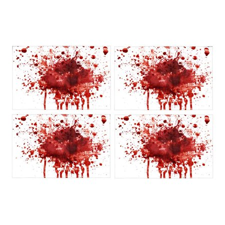 MKHERT Funny Splattered Blood Stain Horror Halloween Theme Placemats Table Mats for Dining Room Kitchen Table Decoration 12x18 inch,Set of 4 - Halloween Blood Stains