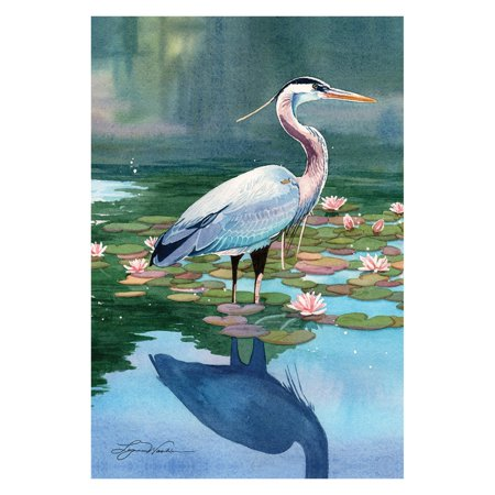 Toland Home Garden Reflecting Heron Flag