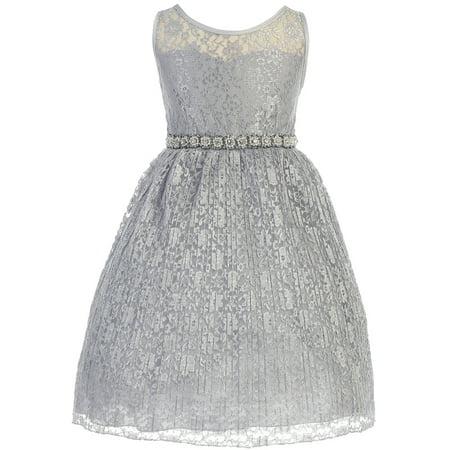(Little Girl Sweetheart Illusion Neckline Lace Overlay Pleated Rhinestones Flower Girl Dress Silver 2 JK3625)