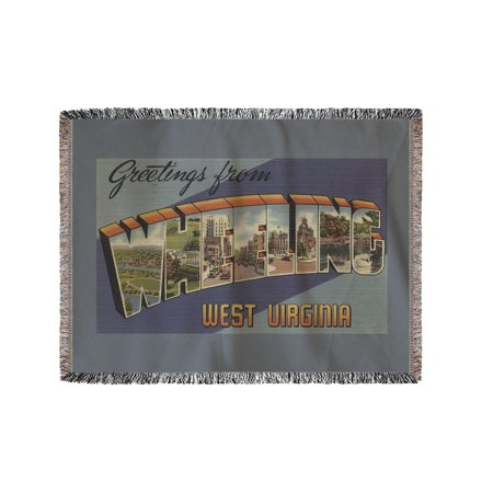 Greetings From Wheeling  West Virginia  60X80 Woven Chenille Yarn Blanket