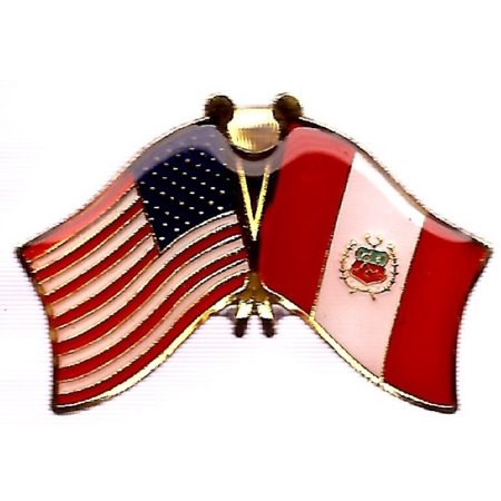 PACK of 3 Peru & US Crossed Double Flag Lapel Pins, Peruvian & American Friendship Pin Badge