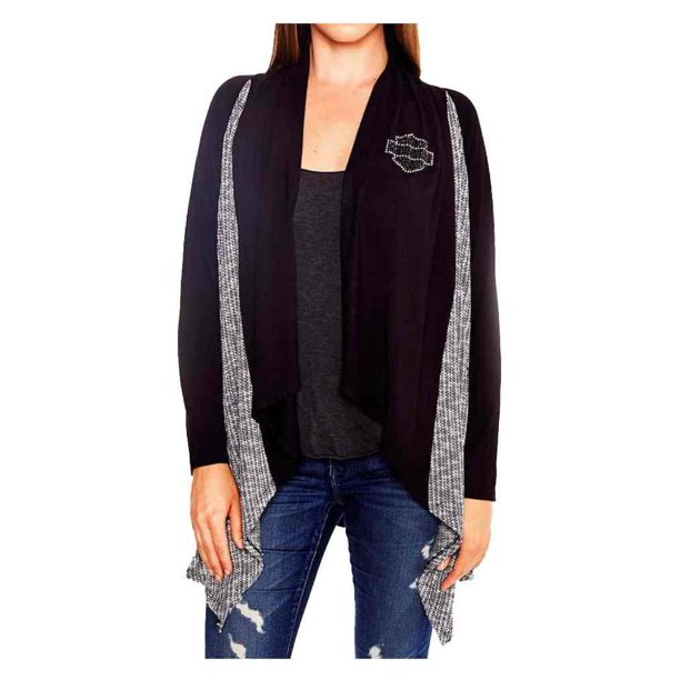 Harley Davidson Women's Rush B&S Long Sleeve Open Front Cardigan, Black, Harley Davidson
