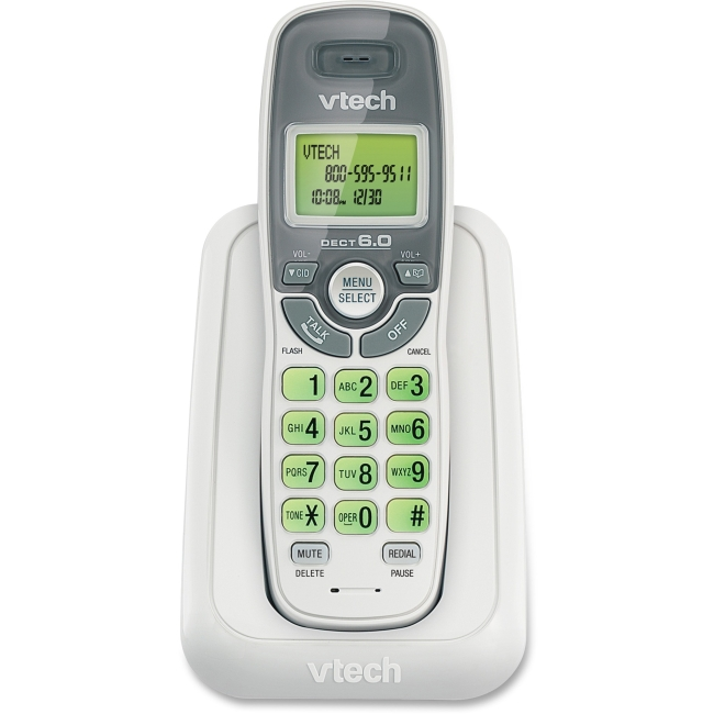 VTech CS6114 DECT 6.0 Cordless Phone with Caller ID/Call Waiting, White with 1 Handset - Cordless - 1 x Phone Line - Backlight